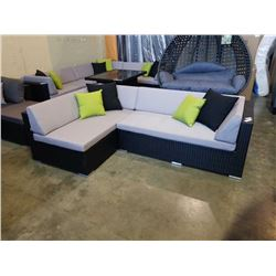 BRAND NEW PREMIUM SMALL L OUTDOOR SECTIONAL RETAIL $1199 W/ LIGHT GREY CUSHIONS AND 4 ACCENT PILLOWS