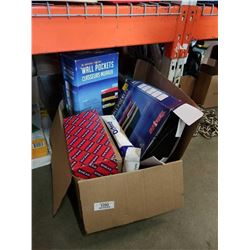 Box of unbreakable wall sockets, file folders and more
