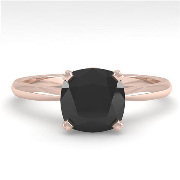 3.0 ctw Cushion Black Diamond Engagment Designer Ring 18k Rose Gold - REF-73W5H