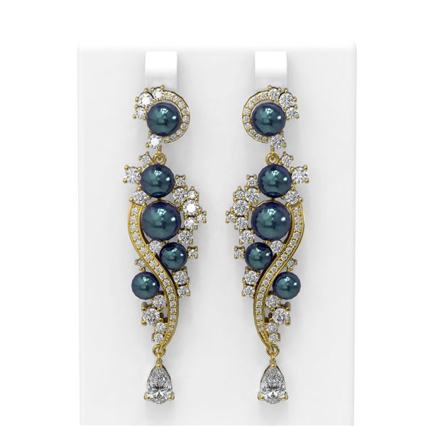 5.13 ctw Diamond & Pearl Earrings 18K Yellow Gold - REF-662K2Y