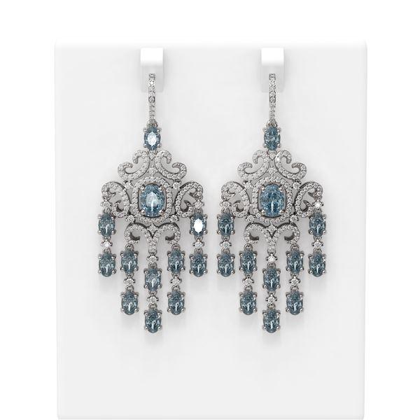 14.83 ctw Blue Topaz & Diamond Earrings 18K White Gold - REF-527K3Y