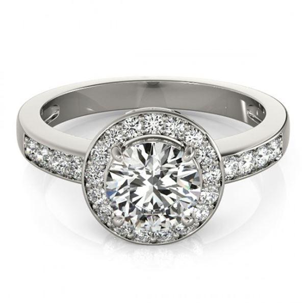 1.2 ctw Certified VS/SI Diamond Halo Ring 18k White Gold - REF-160K9Y