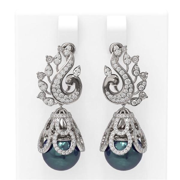 3.13 ctw Diamond & Pearl Earrings 18K White Gold - REF-316H8R