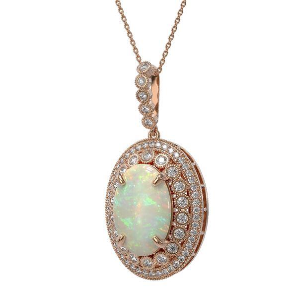 13.42 ctw Certified Opal & Diamond Victorian Necklace 14K Rose Gold - REF-345G5W