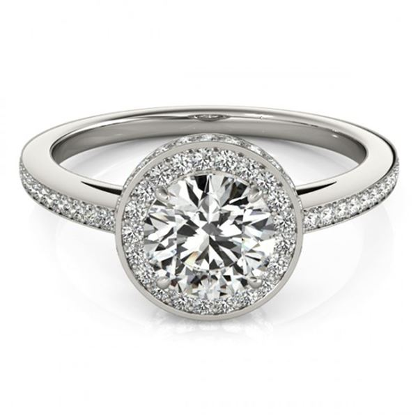 1.25 ctw Certified VS/SI Diamond Halo Ring 18k White Gold - REF-170M2G