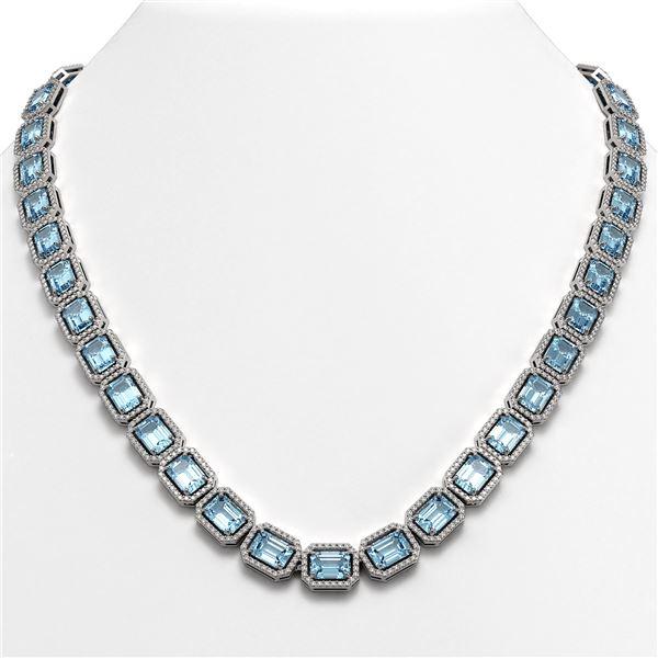 54.79 ctw Aquamarine & Diamond Micro Pave Halo Necklace 10k White Gold - REF-896R9K