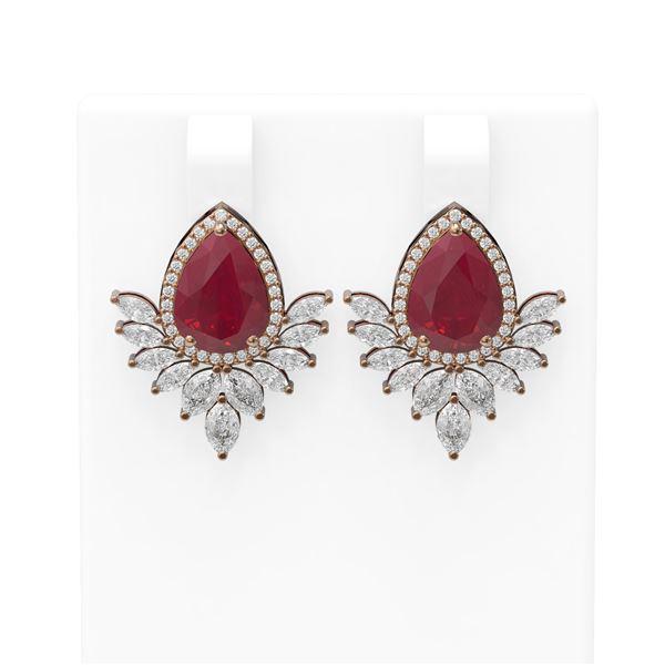11.14 ctw Ruby & Diamond Earrings 18K Rose Gold - REF-525K5Y