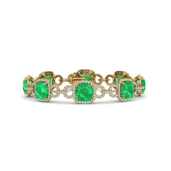 25 ctw Emerald & VS/SI Diamond Certified Bracelet 14K Yellow Gold - REF-457G3W