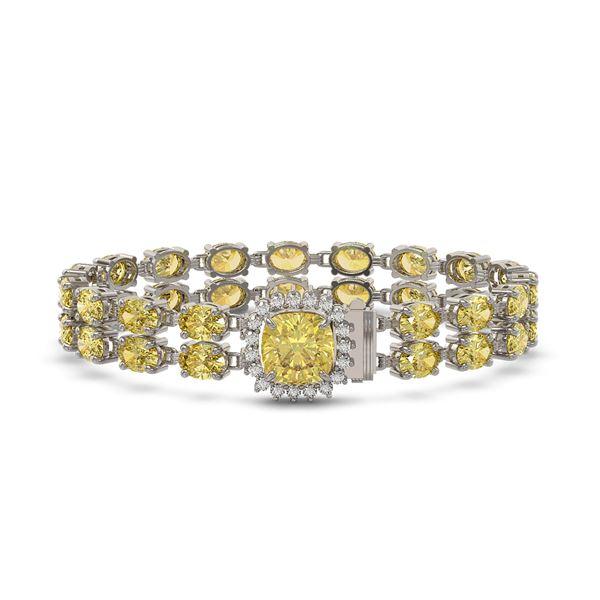 14.21 ctw Citrine & Diamond Bracelet 14K White Gold - REF-178H2R
