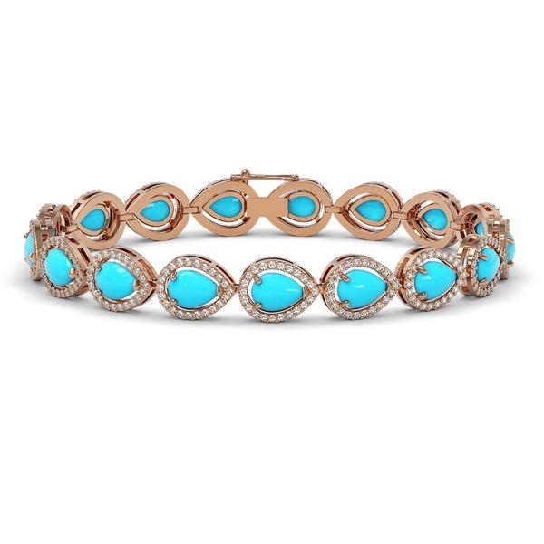 13.19 ctw Turquoise & Diamond Micro Pave Halo Bracelet 10k Rose Gold - REF-305N8F