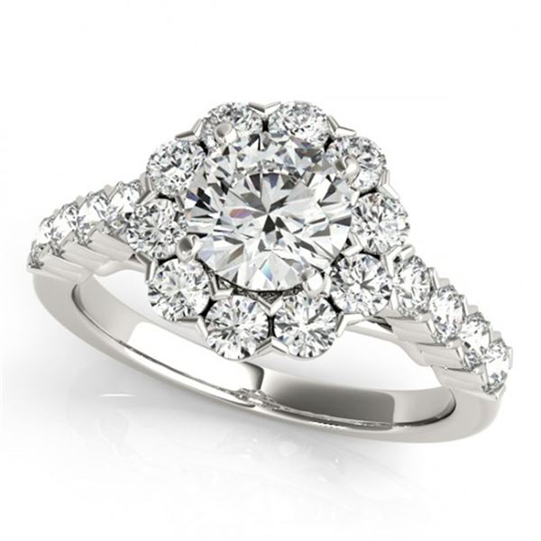 2.1 ctw Certified VS/SI Diamond Halo Ring 18k White Gold - REF-197A2N