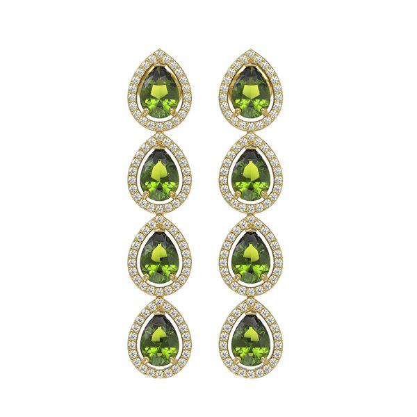 7.88 ctw Tourmaline & Diamond Micro Pave Halo Earrings 10k Yellow Gold - REF-178R5K