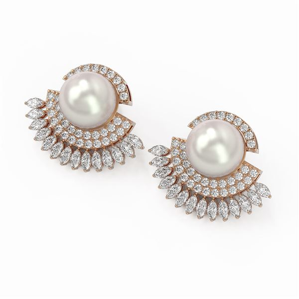 5.76 ctw Marquise Diamond & Pearl Earrings 18K Rose Gold - REF-590W4H