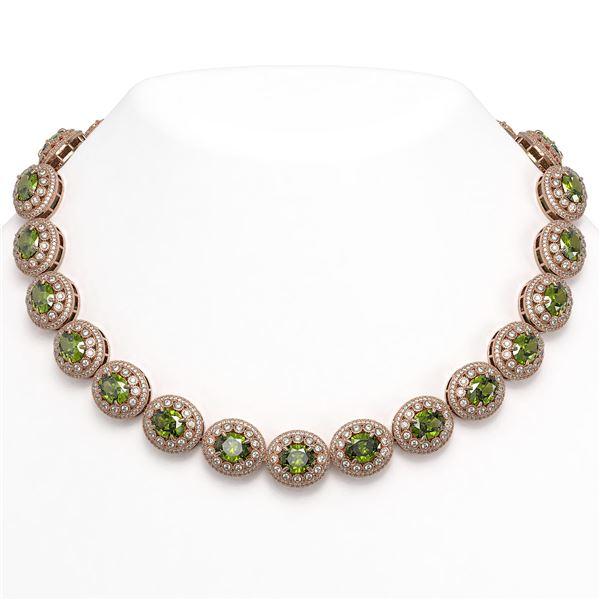 99.35 ctw Tourmaline & Diamond Victorian Necklace 14K Rose Gold - REF-2947F8M