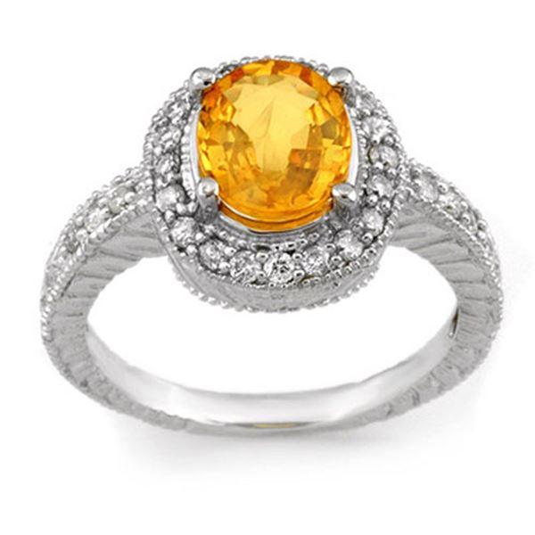2.90 ctw Yellow Sapphire & Diamond Ring 14k White Gold - REF-98N2F