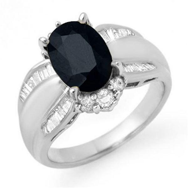 3.42 ctw Blue Sapphire & Diamond Ring 18k White Gold - REF-108G9W