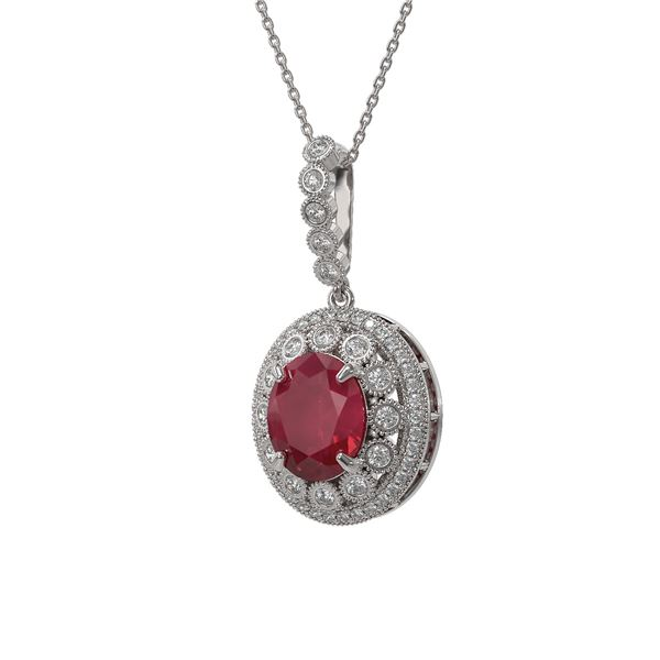 8.66 ctw Certified Ruby & Diamond Victorian Necklace 14K White Gold - REF-176A4N
