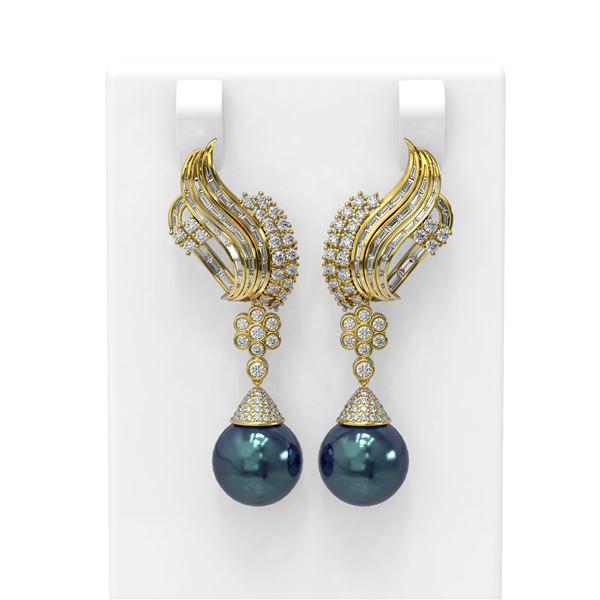 3.73 ctw Diamond & Pearl Earrings 18K Yellow Gold - REF-426F8M