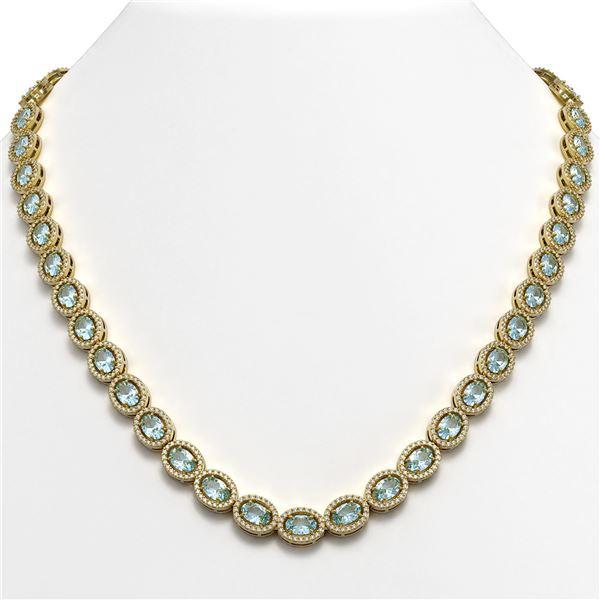 33.25 ctw Sky Topaz & Diamond Micro Pave Halo Necklace 10k Yellow Gold - REF-600G2W