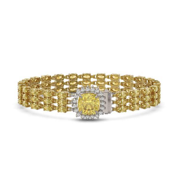 25.15 ctw Citrine & Diamond Bracelet 14K Yellow Gold - REF-281X8A