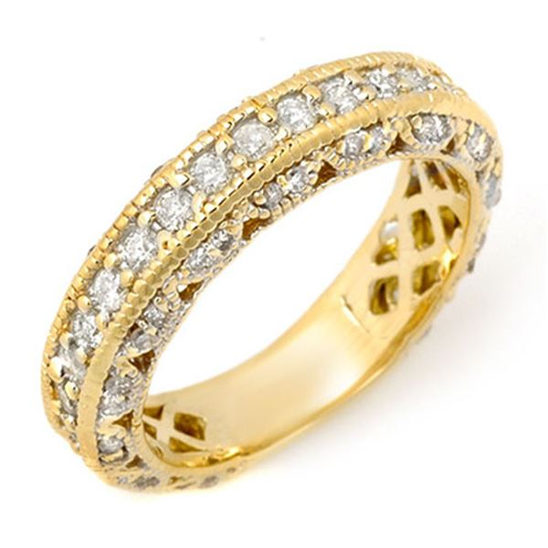 1.10 ctw Certified VS/SI Diamond Band 14k Yellow Gold - REF-102Y8X