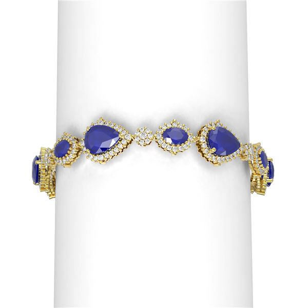 33.90 ctw Sapphire & Diamond Bracelet 18K Yellow Gold - REF-617M6G