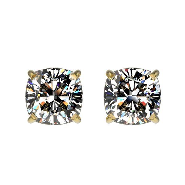 1 ctw Certified VS/SI Quality Cushion Diamond Stud Earrings 10k Yellow Gold - REF-120A3N