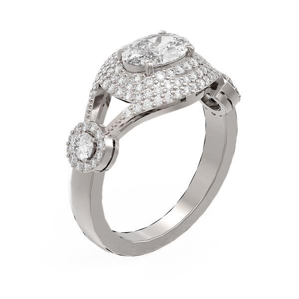 2.19 ctw Oval Diamond Ring 18K White Gold - REF-504X2A
