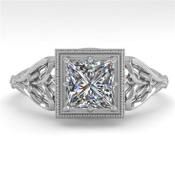 1.0 ctw VS/SI Princess Diamond Engagment Ring Art Deco 18k White Gold - REF-322W5H