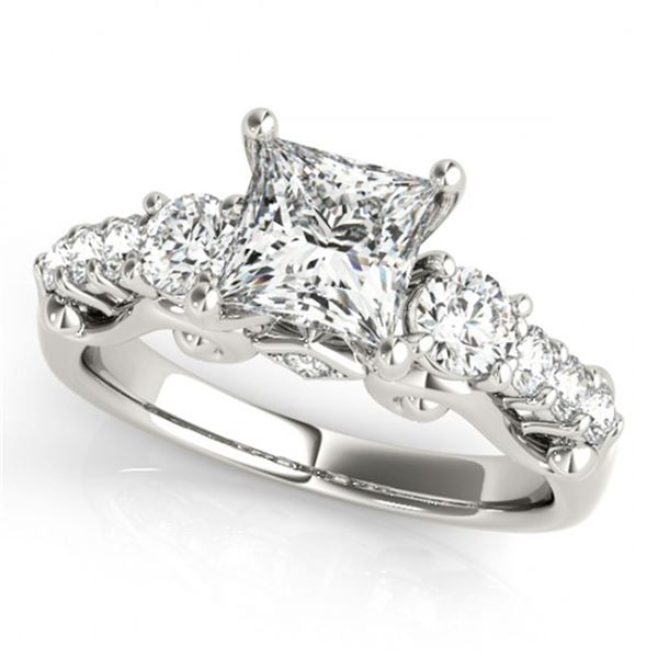 1.5 ctw VS/SI Diamond 3 Stone Princess Cut Ring 18k White Gold - REF-219H4R