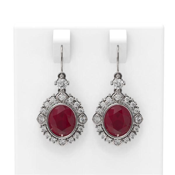 9.52 ctw Ruby & Diamond Earrings 18K White Gold - REF-227N3F