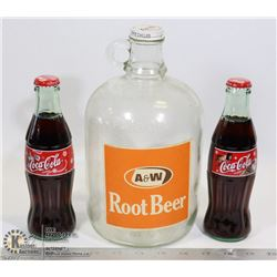 OLD A&W GLASS JUG & 2 FULL VINTAGE COCA COLA CLASS