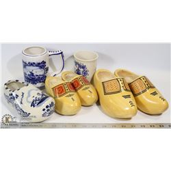 HOLLAND DELFT BLUE AND WOODEN SHOES