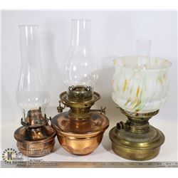 LOT OF 3 OIL LAMPS, 2 MISSING GLASS