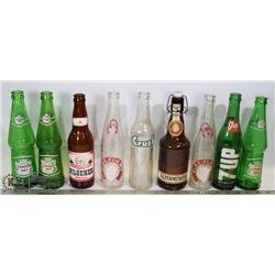 FLAT OF VINTAGE COLLECTIBLE SODA & BEER BOTTLES