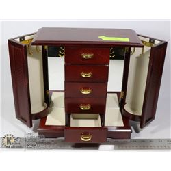 JEWELRY BOX WITH SIDE NECKLACE HANGERS /5 DRAWERS