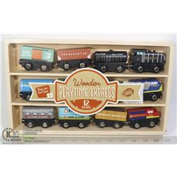 WOODEN PLAYTIME EXPRESS 12 TRAIN CAR SET
