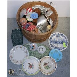 WOODEN BASKET FULL OF COLLECTIBLES