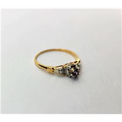 11)  AMETHYST RING SET IN 14k WHITE AND