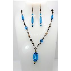 22)  SET OF TURQUOISE BLUE GLASS DROP