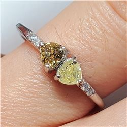 10K WHITE GOLD YELLOW DIAMOND DIAMOND(0.3CT)