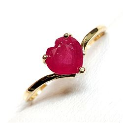 10K YELLOW GOLD RUBY(0.95CT) INTENSE RED HEART