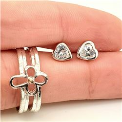CUBIC ZIRCONIA RING WITH CROSS AND HEART STUDS SE