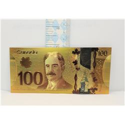 8)  COLORIZED 24k GOLD FOIL CANADIAN $100.00