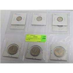 5 - CANADIAN  $.10 SILVER 1960'S, + 3 USA JFK