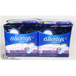 TWO PACKS OF ALWAYS MAXI EXTRA HEAVY FLOW PADS
