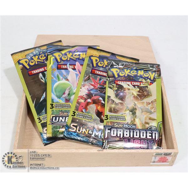 CIGAR BOX /W 4 SEALED 3 CARD POKEMON BOOSTER PACKS.