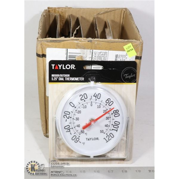 CASE OF TAYLOR INDOOR/ OUTDOOR DIAL THERMOMETER