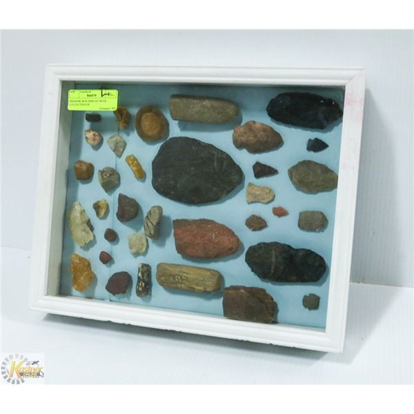 SHADOW BOX DISPLAY WITH COLLECTION OF