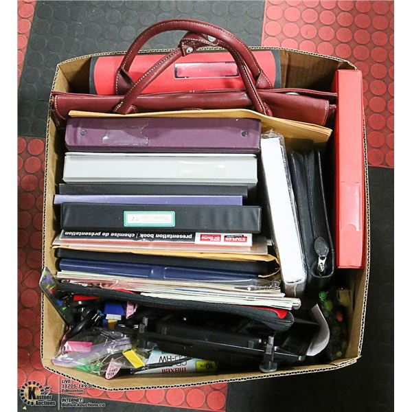 BOX OF OFFICE SUPPLIES, INCLUDES LEATHER